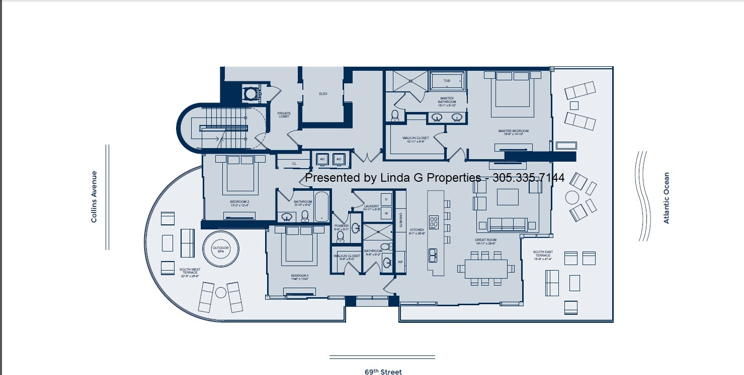 L'Atelier Miami Beach Condos Floor plan - South side 1/2 Floor luxury condo
