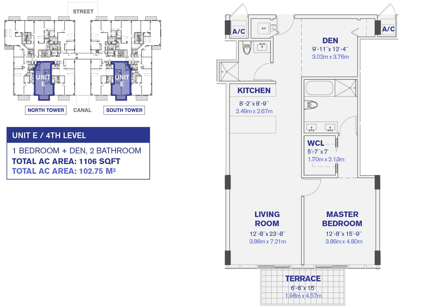 4th and 6th Floor Unit E Floor Plan