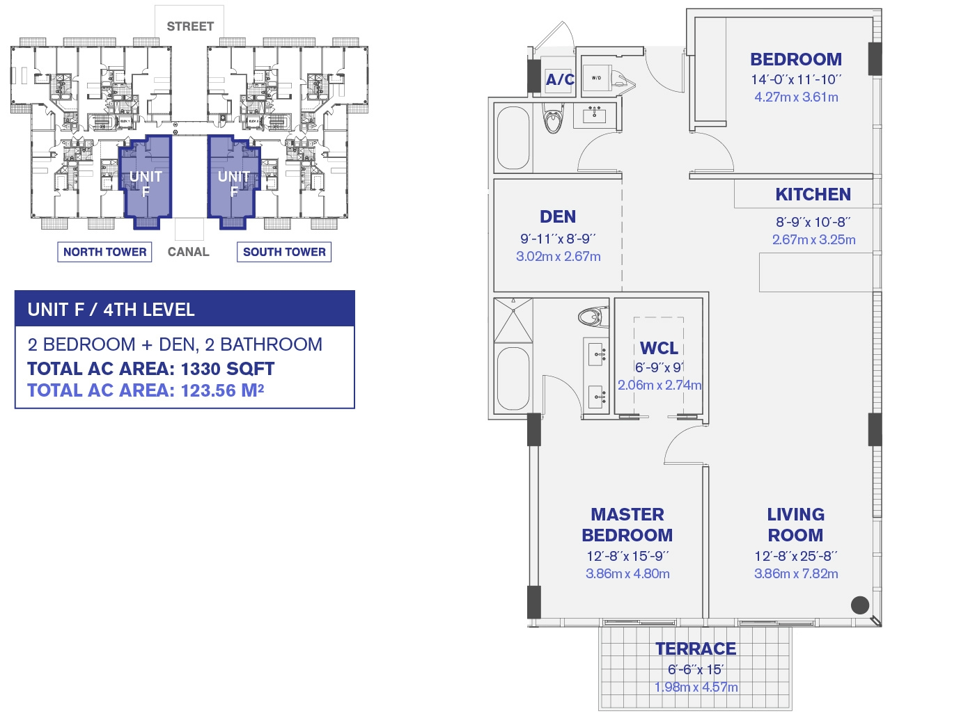 4th and 6th floor Unit F floor plan