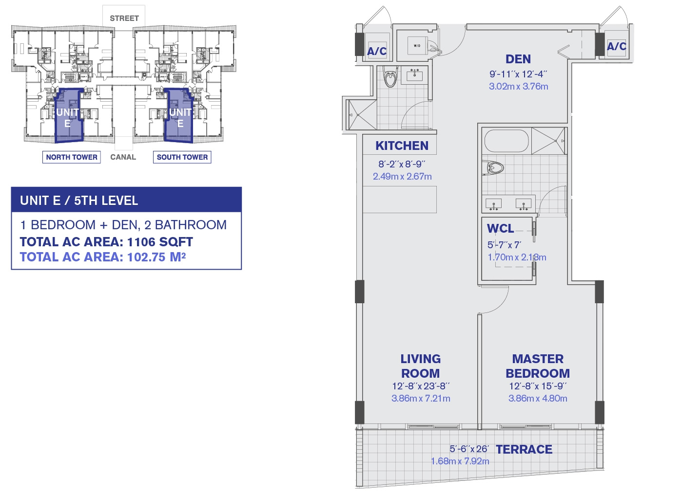 Kai at Bay Harbor condos 5th Floor Unit E Floor Plan