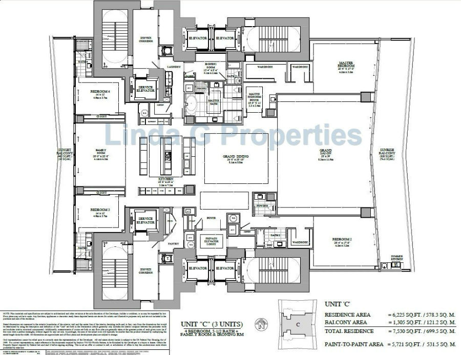 Turnberry Ocean Club Residence C Floor plan