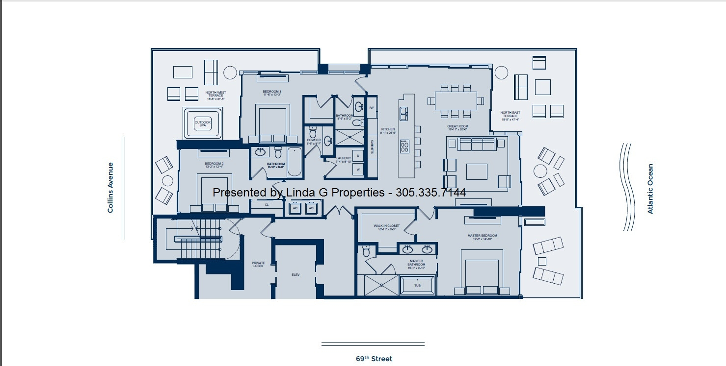 L'Atelier Miami Beach Condominium Floor plan - North side 1/2 floor condo