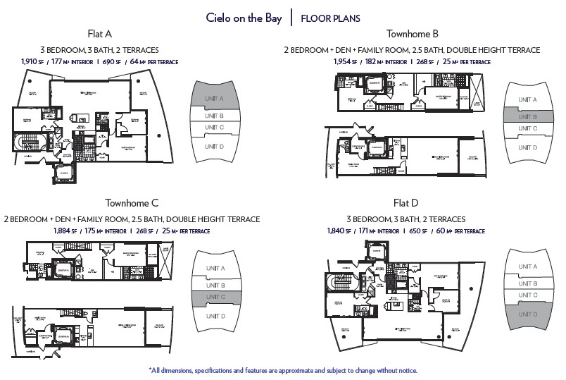 Cielo Condominium in North Bay Village, Miami Floorplans
