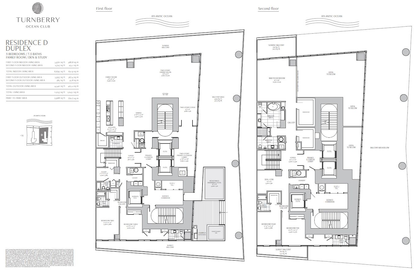 Turnberry Ocean Club Duplex Penthouse Floorplan
