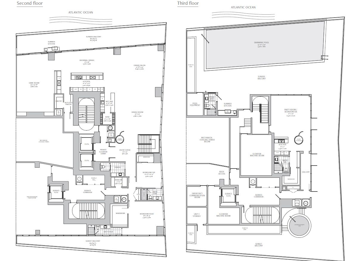 Turnberry Ocean Club Triplex Penthouse Floorplans